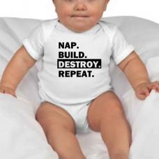 """""""Nap. Build. Destroy. Repeat."""" bērnu bodijs ar termoapdruku"""