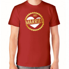 """Just married"" T-krekls vīriešu ar termoapdruku"