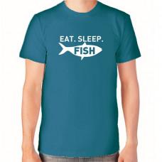 """Eat sleep fish"" T-krekls vīriešu ar termoapdruku"