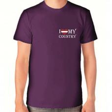 """I Love My Country"" T-krekls vīriešu ar termoapdruku"