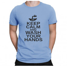 """Keep Calm And Wash Your Hands"" T-krekls vīriešu ar termoapdruku"
