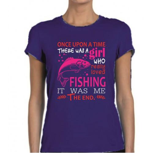 """A girl who loved fishing"" sieviešu T-krekls"