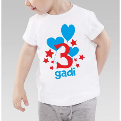 """""""3 gadi""""   Футболка детская с термопечатью"""