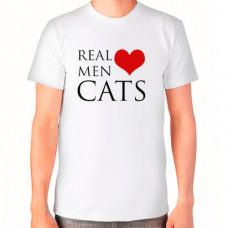 """""""Real Men Love Cats"""" T-krekls vīriešu ar sublimācijas apdruku"""