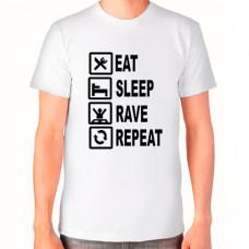 """""""Eat Sleep Rave Repeat"""" T-krekls vīriešu ar sublimācijas apdruku"""