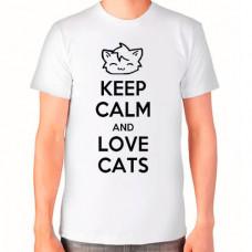 """""""Keep calm and Love Cats"""" T-krekls vīriešu ar sublimācijas apdruku"""