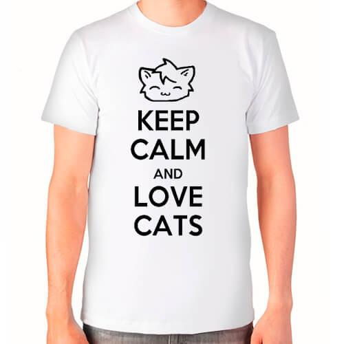 """Keep calm and love cats"" Футболка мужская"