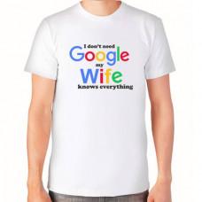 """""""I don't need Google"""" T-krekls vīriešu ar sublimācijas apdruku"""