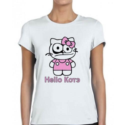 """""""Hello Котэ""""  футболка женская"""