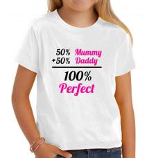 """""""100% perfect"""" T-krekls bērnu ar sublimācijas apdruku"""