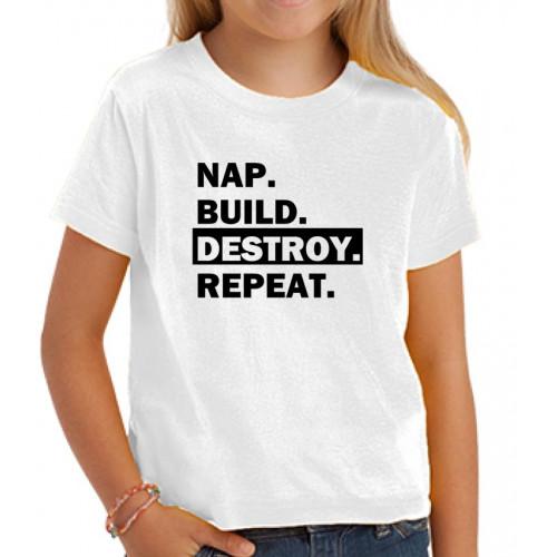 """""""Nap.Built.Destroy.Repeat"""" Футболка детская"""