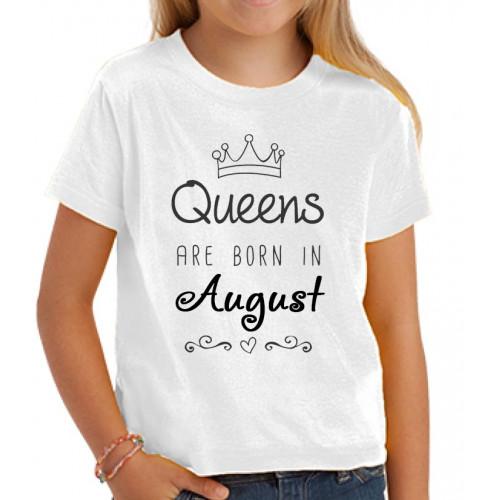 """Queens are born in..."" футболка детская белая"