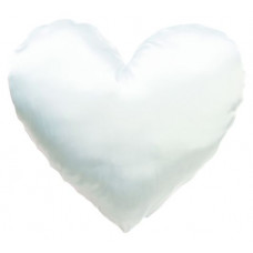 Spilvens balts sirds formā  ar apdruku